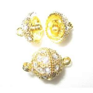 2 10mm Swarovski Rhinestone Gold Necklace Pave Ball Clasps