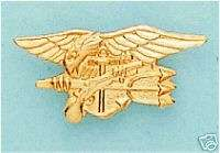 USN NAVY SEALS TEAM TRIDENT GOLD LAPEL PIN
