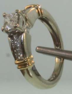 14k white yellow gold princess diamond engagement ring
