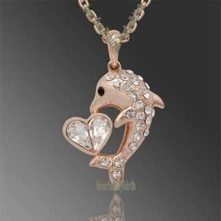 dolphin Swarovski crystal 18K gold Gp necklace N23
