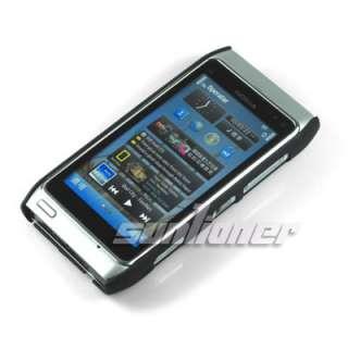 Black Rubber Hard Case Skin Cover for NOKIA N8+LCD Film