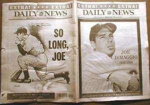 BEST 1999 NY newspaper DEATH of NY Yankee JOE DIMAGGIO