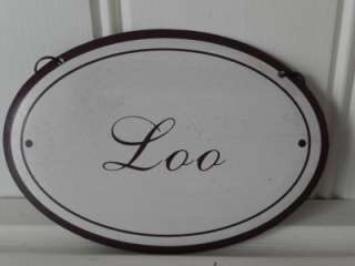 SHABBY VINTAGE STYLE HANGING METAL SIGNS BATHROOM LOO TOILETTES CHIC
