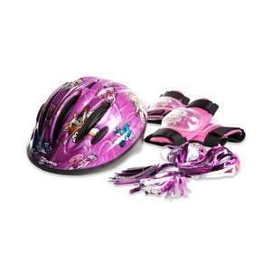 KIDZAMO Kitty Bicycle Helmet & Pads Combo: Sports
