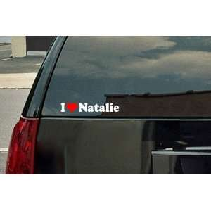 I Love Natalie Vinyl Decal   White with a red heart