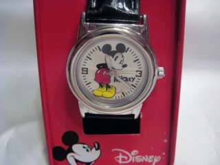 Mickey Mouse Watch ~ Black Leather Band
