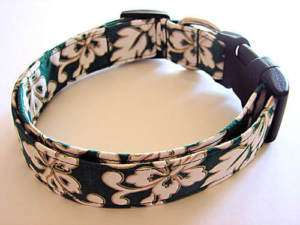Charming Hawaiian Green White Flowers Dog Collar Small