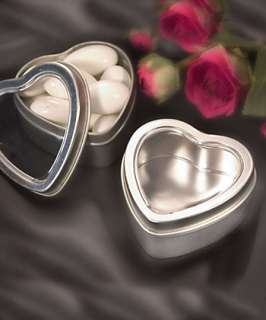 100 SILVER HEART MINT TINS/FAVOR BOXES WEDDING SWEET 16