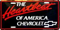 Chevy THE HEARTBEAT OF AMERICA License Plate   Auto Tag