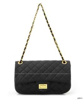 NEW Black Quilted Gold Chain 2.55 Medium Handbags Shoulder Cross body