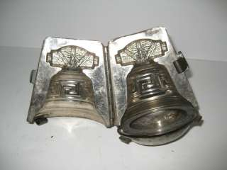 Antique German Chocolate Mold Bell Full body With Cover And Clips