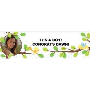 Sweet Tweet Blue Baby Shower Personalized Photo Banner Large 30x 100
