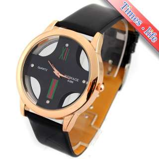 Fashion Hollow Black Dial Crystal Quartz Mens Wrist Watch Leather Best