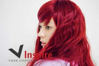 NWT Stylish Long Candy Apple Red Curly Hair Wig
