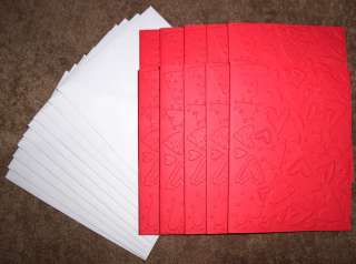 VALENTINE CARD KIT 10 HEARTS EMBOSSED CARD FRONTS INCLUDES CARDS AND