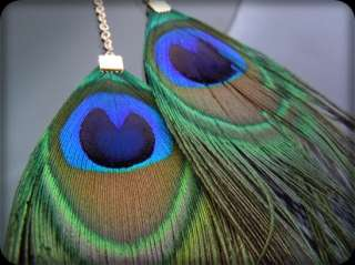 Vintage Green blue Peacock Feather Necklace Gold GP NEW