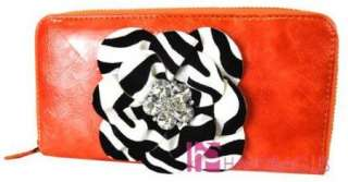 new softcase coin purse with zebra flower and crystal accents purse