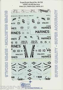48 SuperScale Decals Marine AV 8B Harrier II VMA 231 VMFA 223 VMFA