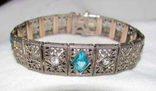 ANTIQUE ART DECO STERLING FILIGREE AQUAMARINE&DIAMOND ART GLASS