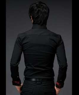 NWT Fashion Style Mens Casual Shirts Luxury Long Shirts Fit Slim