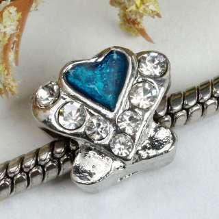 5pcs Blue Enamel Crystal Heart European Beads Fit Charm Bracelet
