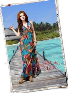 Women Sexy Long Maxi Ice Silk Dress Beach Cocktail Evening Summer