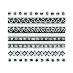 Iridescent Glitter White & Black Floral/Diamond Strip Nail Stickers