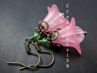 Vintage Style Pink Lucite Flower Glass Beaded Dangle Earrings Costume