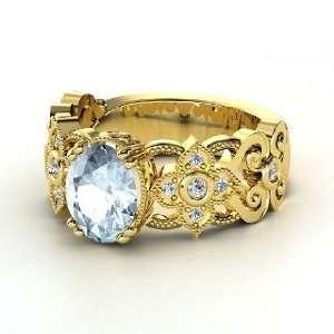 Mantilla Ring, Oval Aquamarine 14K Yellow Gold Ring with