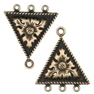 Antiqued Brass 3 Ring Triangle Chandelier Earring Parts