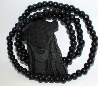 Black Necklace Rosary style Carved Wooden Jesus Face Religious Pendant