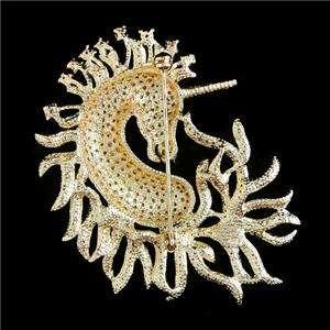 Luxury Horse Unicorn Brooch Pin Topaz Swarovski Crystal Animal
