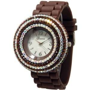 with Elegant Crystals Rhinestones Bling Silicone Rubber Jelly Watch