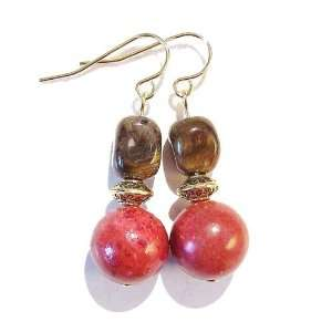 The Black Cat Jewellery Store Tigers Eye Nugget, Coral & Antique Gold
