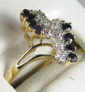Estate Beautiful 14k Yellow Gold .40ctw Blue Sapphire & Diamond Ring