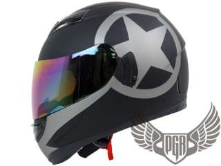 Dual Visor Full Face Motorcycle Helmet Matte Black ~ M