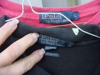 MENS POLO Ralph Lauren SHIRTS short sleeve sz L black salmon Ex