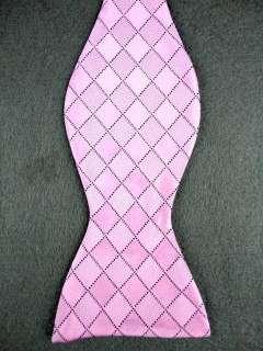 Lattice Pink Woven 100% New Silk Mens Self Bow Tie