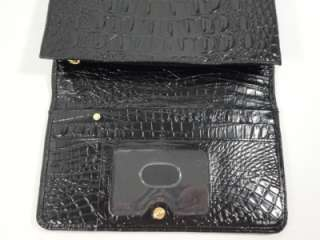 NWOT Brahmin Lexington BLACK Patent Leather Continental Wallet Coin