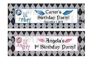 lil ANGEL skull 1st BIRTHDAY PARTY water bottle label wrappers FAVOR