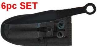 6pc 5.5 BLACK NINJA KUNAI THROWING KNIVES w/ SHEATH naruto throwers