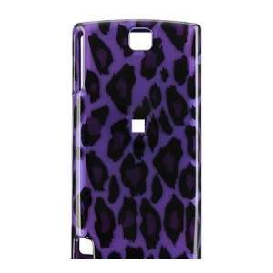 Purple/Black Leopard Design Hard 2 Pc Snap On Case for HTC
