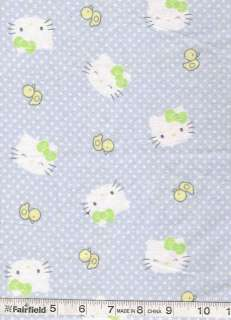 Sanrio HELLO KITTY & Duck Blue Flannel quilt Fabric 1yd