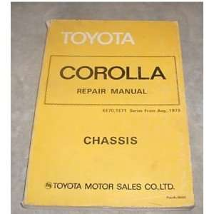 1979 Toyota Corolla Chassis Service Repair Shop Manual: toyota: