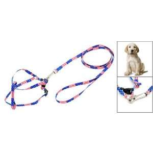 Como Pet Dog Pull Harness Nylon Leash Rope w. Flag Pattern