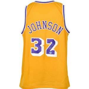 Magic Johnson Autographed Los Angeles Lakers Throwback Gold Jersey