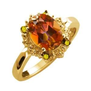Ecstasy Mystic Topaz and Canary Diamond 18k Yellow Gold Ring Jewelry