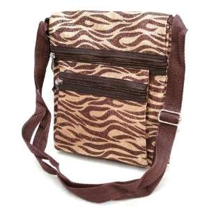 Zebra Animal Print Messenger Handbag Brown