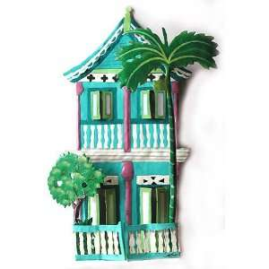 Turquoise 2 Story House   Hand Painted Haitian Metal Art