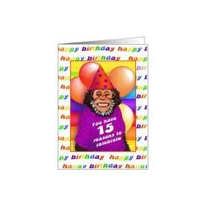 15 Years Old Birthday Cards Humorous Monkey Card: Toys & Games
